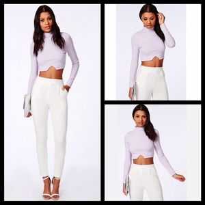 NWT Missguided pastel purple mock neck crop top
